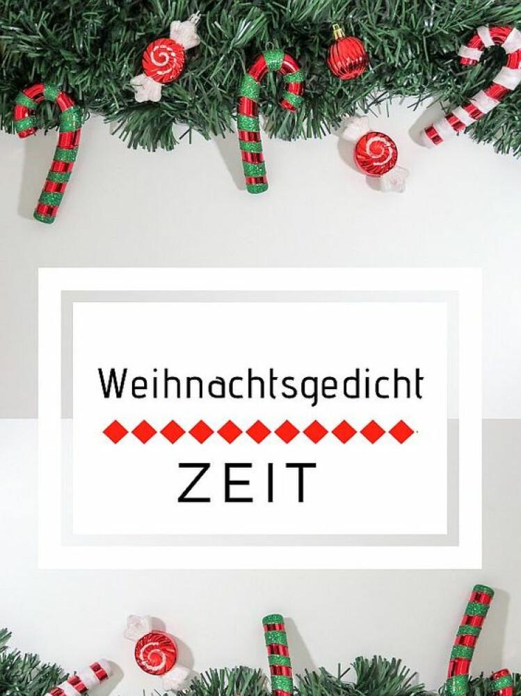 """Grün-rote Weihnachtsdekoration mit Zuckerstangen, in der Mitte steht """"Weihnachtsgedicht Zeit"""""""